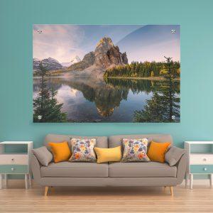 תמונת זכוכית - השתקפות הר השמש לעיצוב הבית על קיר בסלון