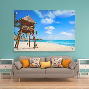 תמונת זכוכית - חוף אקומל בריביירה מאיה לעיצוב הבית על קיר בסלון