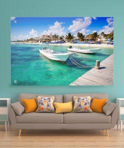 תמונת זכוכית - חוף פוארטו מורלוס לעיצוב הבית על קיר בסלון