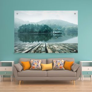 תמונת זכוכית - נוף האגם האלפיני לעיצוב הבית על קיר בסלון