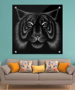 תמונת זכוכית - נמר אומנותי שחור לבן לעיצוב הבית על קיר בסלון