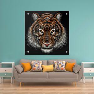 תמונת זכוכית - נמר אומנותי צבעוני לעיצוב הבית על קיר בסלון