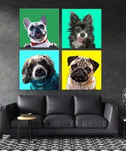 תמונות קנבס כלבי פופ ארט לסלון או לחדר שינה לעיצוב הבית