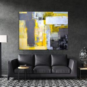 תמונת קנבס אבסטרקט אומנותי אפור צהוב לבן לסלון לעיצוב הבית
