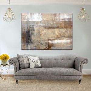 תמונת קנבס אבסטרקט אומנותי צבעי אדמה לסלון לעיצוב הבית