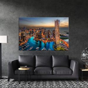 תמונת קנבס דובאי בשעות ערב לסלון לעיצוב הבית