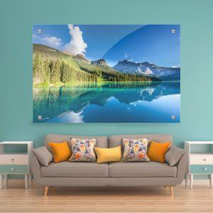 תמונת זכוכית - האגם המבריק לעיצוב הבית על קיר בסלון