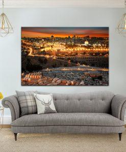 תמונת קנבס הזריחה-בירושלים-הקדושה לסלון לעיצוב הבית