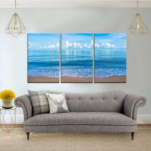 שלישיית קנבס - הים הפתוח לסלון לעיצוב הבית