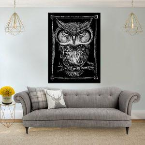 תמונת קנבס הינשוף האפור לסלון לעיצוב הבית