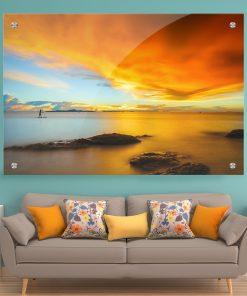 תמונת זכוכית - השקיעה המופשטת לעיצוב הבית על קיר בסלון