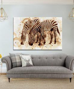 תמונת קנבס זברת קפה לסלון לעיצוב הבית