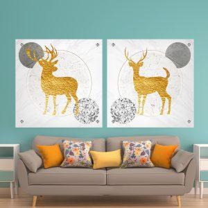 זוג תמונת זכוכית - איילים שיש קלאסי לעיצוב הבית על קיר בסלון