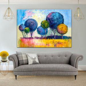 תמונת קנבס יער צבעי הדר לסלון לעיצוב הבית