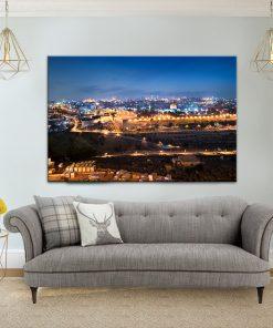תמונת קנבס ירושלים הקדושה בערב לסלון לעיצוב הבית