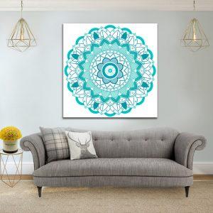 תמונת מנדלה טורקיז תכלת קנבס לסלון לעיצוב הבית