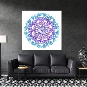 תמונת קנבס מנדלה פרחונית כחול סגול לסלון לעיצוב הבית