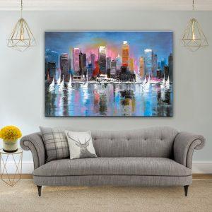 תמונת קנבס מפרשיות והעיר הגדולה לסלון לעיצוב הבית