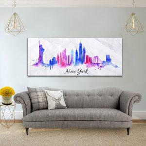תמונת קנבס ניו יורק בציור המים לסלון לעיצוב הבית