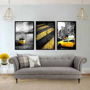 סט תמונות - עולם צהוב מעוצב לסלון ולמטבח לעיצוב הבית