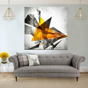 תמונת קנבס אבסטרקט גאומטרי גראנג'י לסלון לעיצוב הבית