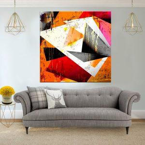 תמונת קנבס אבסטרקט גאומטרי גראנג'י 2 לסלון לעיצוב הבית