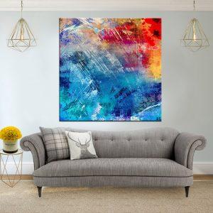 תמונת קנבס אבסטרקט גראנג'י כחול אדום לסלון לעיצוב הבית