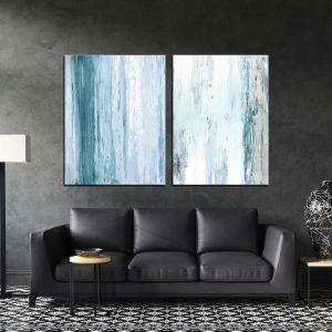 זוג תמונות קנבס אבסטרקט גשם צלול אפור לבן לסלון לעיצוב הבית, לחדרי שינה או למטבח