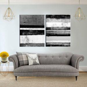 זוג תמונות קנבס אבסטרקט פסי אומנות שחור לבן לסלון לעיצוב הבית, לחדרי שינה או למטבח