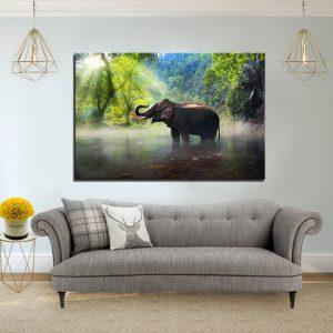תמונת קנבס אגם הפיל לסלון לעיצוב הבית