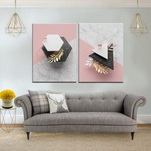 זוג תמונות קנבס אלמנטיי שיש לסלון לעיצוב הבית, לחדרי שינה או למטבח