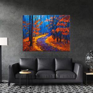 תמונת קנבס השביל ביער הכתום לסלון לעיצוב הבית
