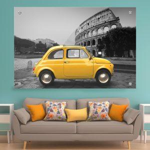 תמונת זכוכית - הקלסיקה הצהובה ברומא לעיצוב הבית על קיר בסלון