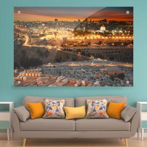 תמונת זכוכית - תמונת זכוכית - זריחה בירושלים הקדושה לעיצוב הבית על קיר בסלון לעיצוב הבית על קיר בסלון