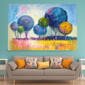תמונת זכוכית - יער צבעי הדר לעיצוב הבית על קיר בסלון