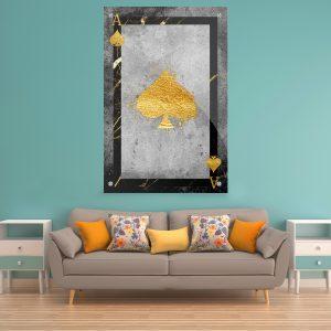 תמונת זכוכית- אס עלה יוקרה לעיצוב הבית על קיר בסלון