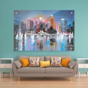 תמונת זכוכית - מפרשיות והעיר הגדולה לעיצוב הבית על קיר בסלון