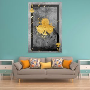 תמונת זכוכית - אס תלתן יוקרה לעיצוב הבית על קיר בסלון