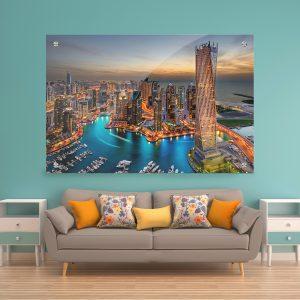 תמונת זכוכית - דובאיי בשעות הערב לעיצוב הבית על קיר בסלון