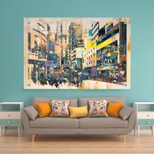 תמונת זכוכית - אבסטרקט סיטי לעיצוב הבית על קיר בסלון