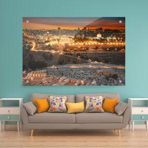 תמונת זכוכית - זריחה בירושלים הקדושה לעיצוב הבית על קיר בסלון