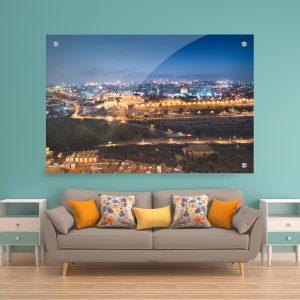 תמונת זכוכית - ירושלים הקדושה בערב לעיצוב הבית על קיר בסלון