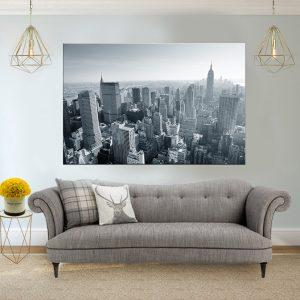 תמונת קנבס ניו יורק שחור לבן אווירי לסלון לעיצוב הבית