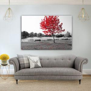 תמונת קנבס עץ עלי האדום לסלון לעיצוב הבית