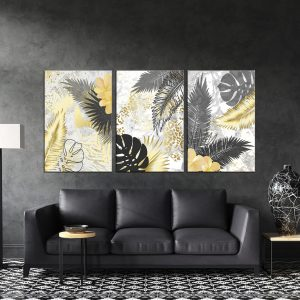 תמונת קנבס עלים מטאלים לסלון לעיצוב הבית