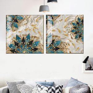 זוג תמונות קנבס דגי העושר לסלון לעיצוב הבית, לחדרי שינה או למטבח