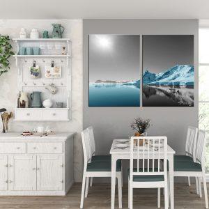 זוג תמונות קנבס הקוטב הכחול לסלון לעיצוב הבית, לחדרי שינה או למטבח