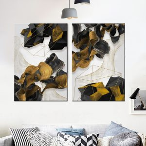 זוג תמונות קנבס סלסולי בזלת לסלון לעיצוב הבית, לחדרי שינה או למטבח