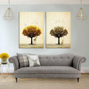 תמונת קנבס עץ הג'רף ועץ האייל לסלון לעיצוב הבית
