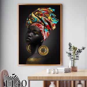 תמונת קנבס אפריקאית והכובע הצבעוני לסלון לעיצוב הבית